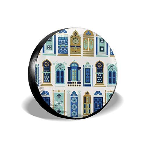 Usting Tire Cover, Zonwering En Regen Bescherming Band Cover, Gepersonaliseerde Tire Cover,Marokkaanse Deuren Blauw & Goud Palet,(4 Maten Optioneel)