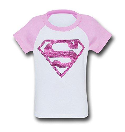 DC Comics Supergirl Girls Pink Pattern Symbol T-Shirt- Girls 5/6