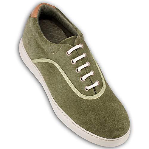 Scarpe con Rialzo da Uomo Che Aumentano l'Altezza Fino a 7 cm. Fabbricate in Pelle. Modello Brooklyn (42, Verde)