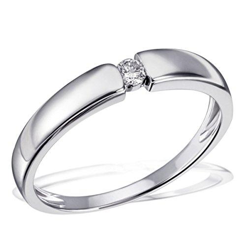 Goldmaid Damen-Ring Solitär Verlobungsring 925 Silber rhodiniert Diamant (0.07 ct) Brillantschliff weiß Gr. 60 (19.1) größenverstellbar Ehering Trauring...