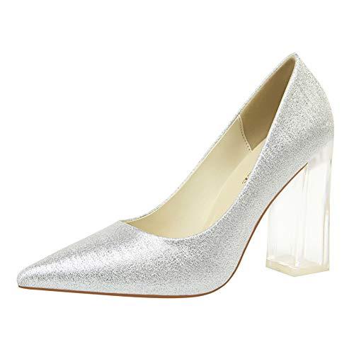 SHOFLKQCS Pump High Heel maat 34-43 vrouwen kristallen schoenen vrouw transparant vierkant Heel Party bruiloft pumps hoge hakken