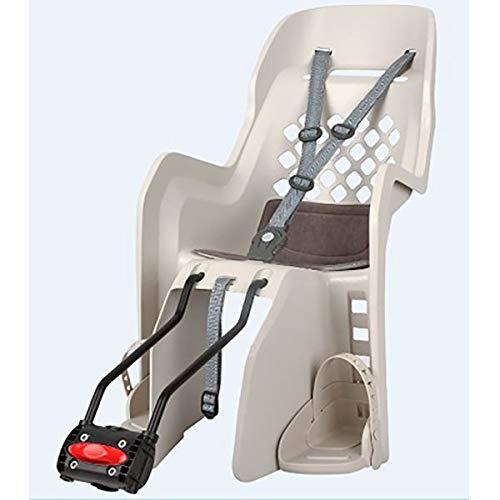 Polisport - Porta bebè posteriore – Fissaggio telaio – Seggiolino per bambino Velo – Modello Joy 26' a 29' – Porta bebè color crema – Seggiolino per bambino