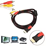1.5M HDMI Male to 3 RCA Video Audio AV Cable Adapter for 1080P HDTV DVD Video Audio AV Cable