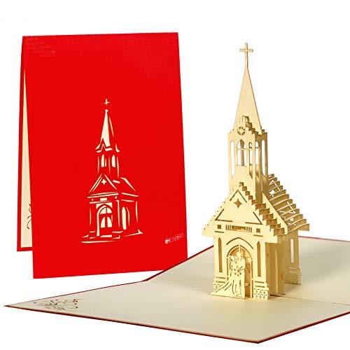 Hochzeitskarte mit kleiner Kapelle, Karte zur Hochzeit. Kirchliche Trauung Geschenke, edel, originell, elegant, Pop-Up Karte L13