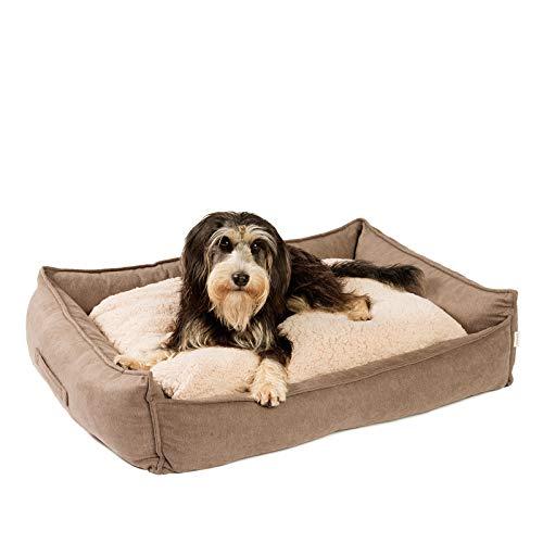 JAMAXX Premium Hundebett Orthopädisch Memory Visco Schaum Waschbar Wendekissen Wasserabweisend/Hundekörbchen Weicher Samtartiger Sofa Stoff Hundekissen Hundekorb PDB2002 (90x70 (M), braun