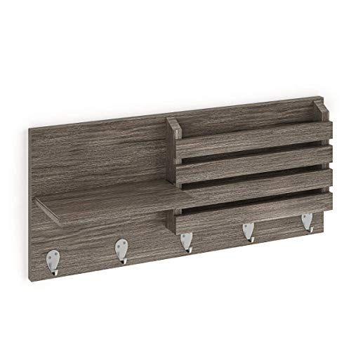 Ballucci Mail Holder and Coat Key Rack Wall Shelf with 3 Hooks,...