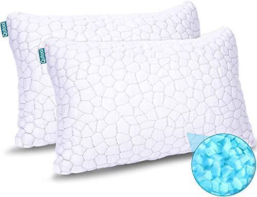 2-Pack Cooling Bed Pillows for Sleeping Adjustable Gel Shredded Memory Foam Pillows Queen Size Set of 2 - Luxury Bamboo Pillows for Side Back Sleepers Washable Removable Cover CertiPUR-US Certified