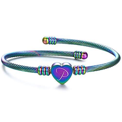 VQYSKO armband damer kvinnor flickor gravyr 26 brev lasertext personligt rostfritt stål armband personlig kreativ överraskning gåva (förpackning låda) e P, colore: Färgning, cod. SZ1130-26