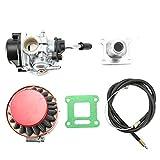 EVGATSAUTO 2 temps moteur carburateur filtre à air accélérateur câble adapté pour Pocket Bike ATV 49cc (avec admission et joint)