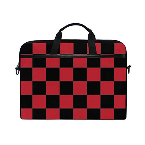 Anmarco Red Checkered Board Laptop Shoulder Messenger Bag Case Sleeve for 14 Inch to 15.4 inch Laptop