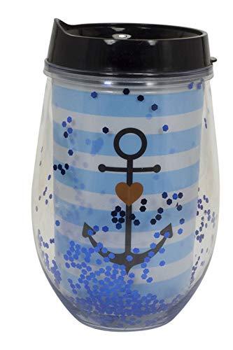 Mea Living Glitter plastic beker met deksel en rietje anker blauw met geschenkverpakking