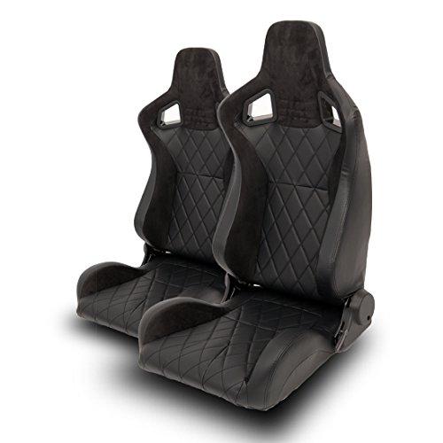 2x Autosportsitz Sportsitz Racingseat schwarz Kunstleder Alcantara Diamond Sitz