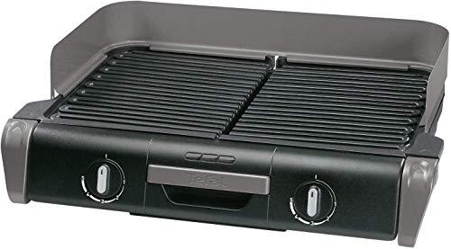 Tefal Family Elektro-Tischgrill, 2 getrennte Grillroste mit stufenlosen Thermostaten, spülmaschinengeeignet, Outdoor & Drinnen, 2400 Watt, Auffangschale, BBQ, Edelstahl, geringe Rauch-Entwicklung