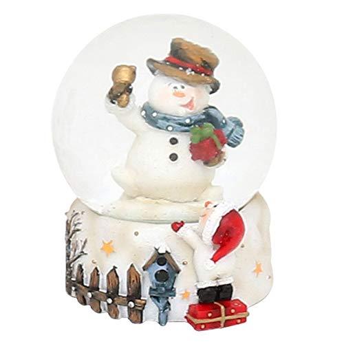 Dekohelden24 Mini-Schneekugel mit Schneemann, Sockel mit Zaun und Schneemann, Maße L/B/H: 4,5 x 4,5 x 6,8 cm Kugel Ø 4,5 cm.