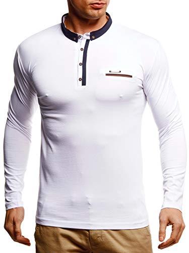 Leif Nelson Herren Langarmshirt Poloshirt Slim Fit Baumwolle-Anteil Basic Männer Longsleeve Pulli Sweatshirt Poloshirt Schwarzer Pullover Sweater T-Shirt Langarm LN4810 Weiß Large