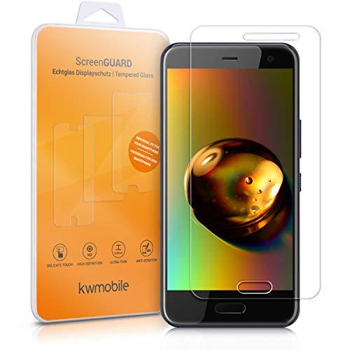 kwmobile 2X Folie kompatibel mit HTC U11 Life - Glas Handy Schutzfolie - Full Screen Bildschirm Schutz (Kleiner als das Bildschirm)