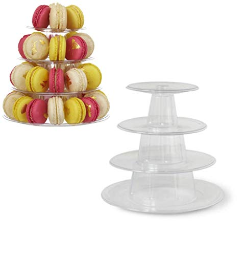 kehuashina 4 Tier Macaron Tower Display Stand for French Macarons Food Grade PVC/APET Cake Rack