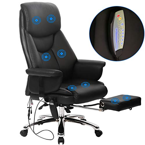 Massage Office Chair Ergonomic Desk Chair Recline Computer Chair with Lumbar Support Headrest Armrest Foorest Executive High Back PU Leather Chair for Women Adults, Black