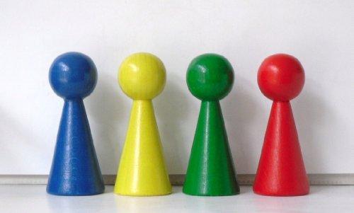 G & S 4 Figurenkegel , Spielfigur , Halmakegel Gigant aus Holz , 100 mm - 4 Farben gemischt