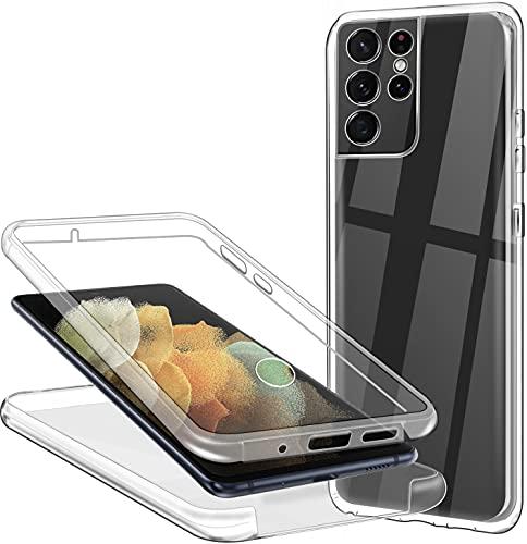 Hülle für Samsung Galaxy S21 Ultra 5G Handyhülle 360 Grad, Transparent Full Schutz Kratzfest Dünn Durchsichtige Hülle Silikon Schutzhülle, Hart PC Zurück + Weich TPU Vorderseite