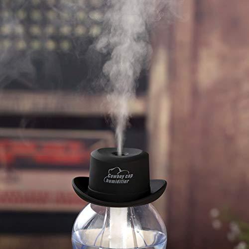WARM home Casa Umidificatore Mini Aroma Cappello da Cowboy DC 5V USB, atomizzatore purificatore d\'Aria, Materiale ABS. Famiglia/Auto. Donare (Colore : Nero)