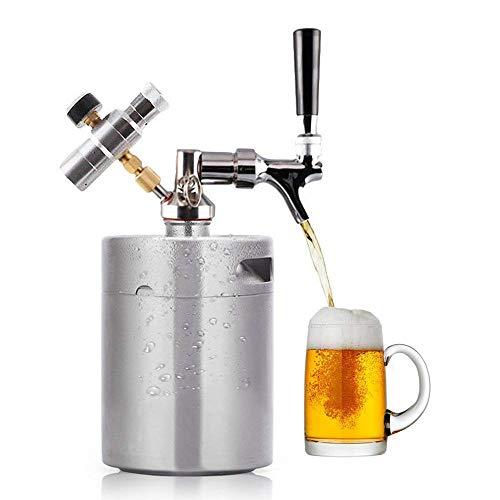 HUKOER 2L 64 Unze Mini Keg Druckbeaufschlagter Growler für das Craft Dispenser System mit verstellbarem Fass-Bierhahn mit perfektem Ausgießer