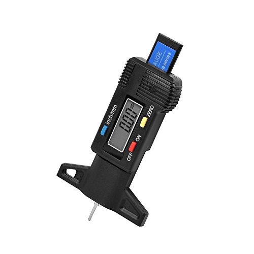 SHUOGOU de voiture Digital Tread Jauge de profondeur, Pneu de voiture Tread Patins de frein à chaussures Jauge de profondeur testeur Jauge Mètre mesureur Moto camions (Noir)