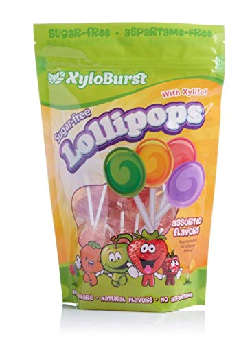 Xyloburst Sugar-Free Xylitol Candy Lollipops Suckers Made With Natural Flavors and Natural Colors, Good For Your Teeth, Dentist Recommended - Made in the USA (50 Count)