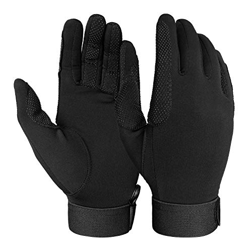 FitsT4 Horse Riding Gloves Equestrian Outdoor Breathable Stretchable Horse Glove for Women Men Black L