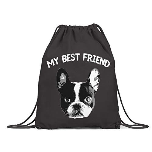 BLAK TEE My Best Friend French Bulldog Organic Cotton Drawstring Gym Bag Black