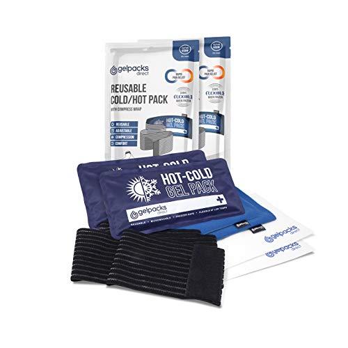 GelpacksDirect - Bolsa de gel reutilizable para aplicar frío y calor - Con banda de compresión - Para alivio rápido del dolor