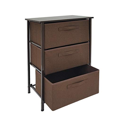 Iusun Bedside Table,Vertical Dresser Drawer Storage Cabinet Tower Sturdy Steel Frame Wood Top Nightstand Assemble Bedroom for Bed Home Household Office 17.7x11.8x28.7''-Ship from USA (Brown)