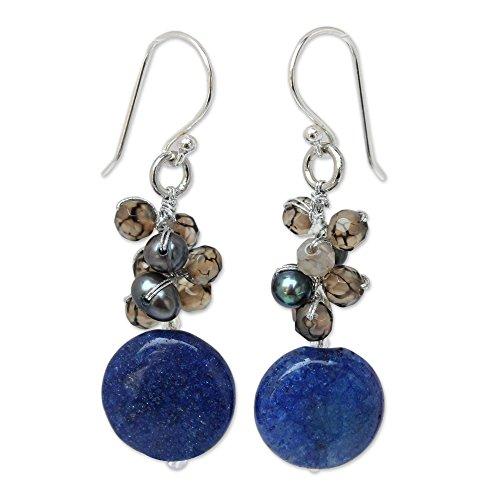 NOVICA Quartz Dyed Gray Cultured Freshwater Pearl .925 Sterling Silver Beaded Earrings 'Thai Joy'
