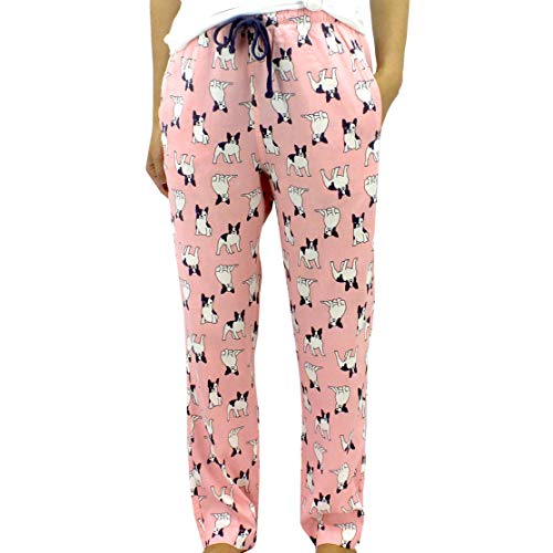 ROCK ATOLL Women's Colorful Owl Dog Bird Animal Patterned Lightweight Pajama Pants (XX-Large, Pink French Bulldog Print)