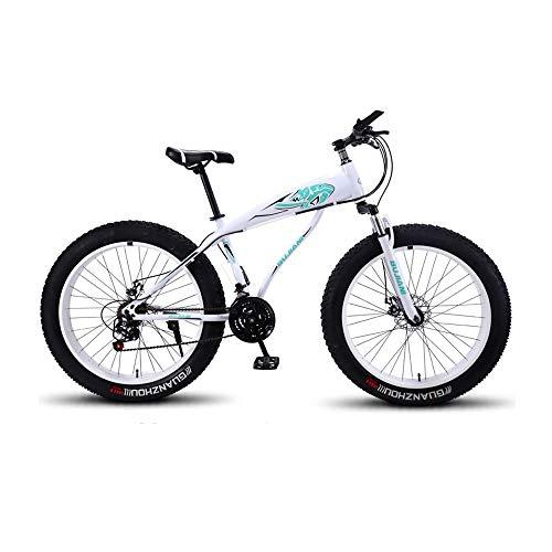GYZLZZB Colored Rim Cross-Country Beach Snowmobile 26' Mountain Bikes,7 Speed Bicycle,Adult Fat Tire Mountain Trail Bike,Aluminium Alloy Frame Dual Full Suspension Dual Disc Brake(White and Blue)