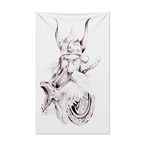 ABAKUHAUS Tatuaje Tapiz de Pared y Cubrecama Suave, Sabio Viejo Guerrero Vikingo, No se Desliza de la Cama, 140 x 230 cm, Rosa Seca Blanca