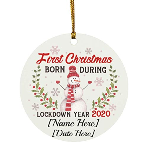 VinMea Personalized First Christmas Born During Lockdown Year 2020 Holiday Circle Ornament Keepsake