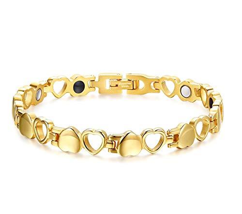 Drkao Titan Magnettherapie-Armband für Arthritis Karpaltunnel Schmerzlinderung Magnetische Armbänder für Damen mit Geschenkbox Magnetarmband Damen in Gold Farbe