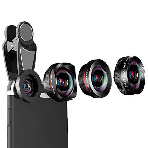 WQYRLJ 4K HD Telefoon Lens Professionele Camera Lens Kits,120° Brede Hoek Lens 15X Macro Lens Fisheye Lens voor Iphone Android Andere Smartphone