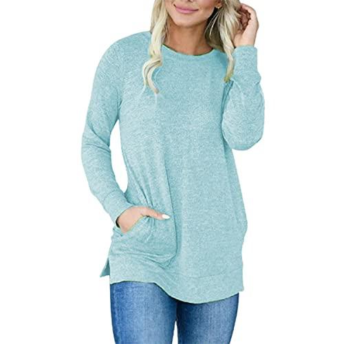 Tekaopuer Tops casuales de mujer con cuello redondo, blusa suelta, color sólido, jersey de manga larga para mujer, azul celeste, L