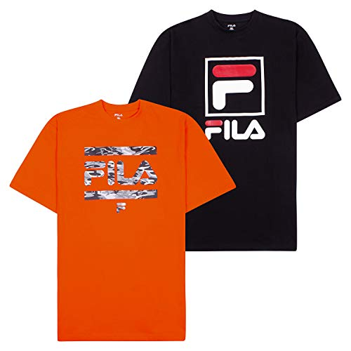 Fila T-Shirts for Men, Big and Tall Men Shirts, Oversize Tees, Shirt 2 Pack Orange/Black