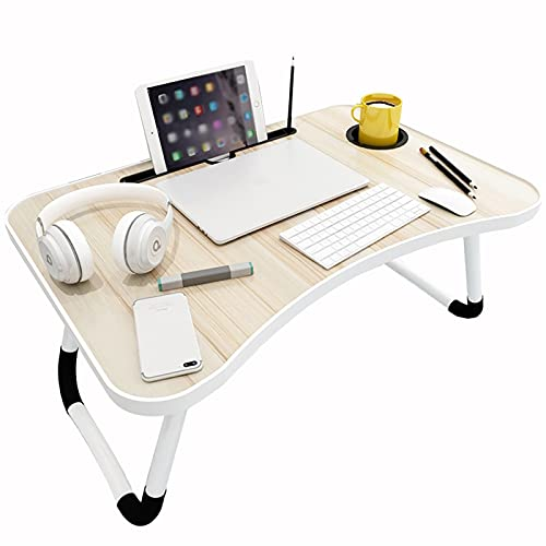 Computer Workstations Portable Overbed Table Lap Desk Folding, Bedside Computer Laptop Desk, Breakfast Bed Serving Tray with Card Slot Cup Holder Mini Picnic Desk Portable Table (Color : C)