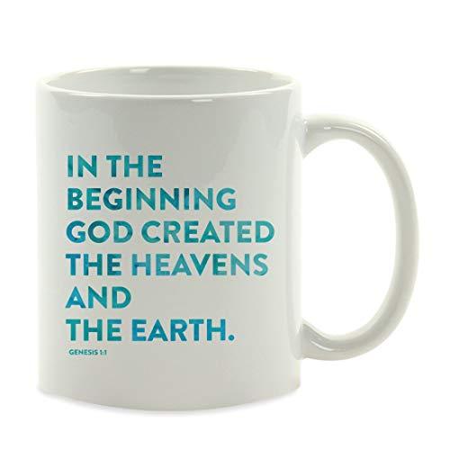 Taza de café para Regalo, versículos de la Biblia, Génesis 1: 1 en el Principio Dios creó los cielos y la Tierra, Bautismo, comunión, Bautizo, Ideas para Regalos, 11 oz