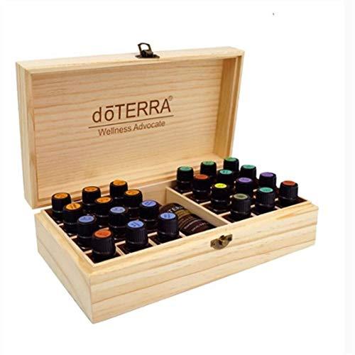 S/V Caja organizadora de aceites esenciales, caja de madera, soporte para 25 agujeros, para esmalte de uñas, aceites aromáticos, cosméticos y pintalabios