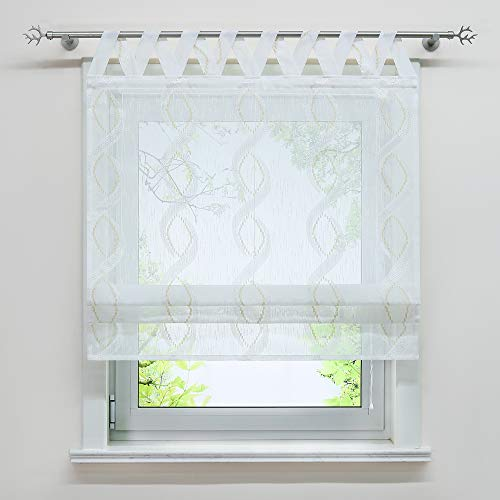 Joyswahl Garn Raffrollo halbtransparente Raffgardine mit Landhausstil »Anouk« Wohnzimmer Schals mit V-Schlaufen BxH 80x140cm 1er Pack