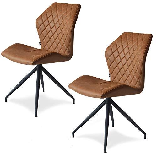 Damiware Rocky Esszimmerstühle 2er Set | Design Stuhl mit Stoffbezug | Cognac Braun (Cognac)