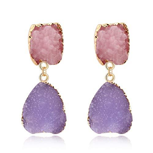 Junlinto Colorido Druzy Piedra Pendientes de Gota de Cuarzo Natural Geoda Cristal Joyería de Moda 1