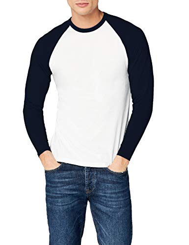 Fruit of the Loom Herren Baseball T-Shirt, Mehrfarbig (White/Navy), (Herstellergröße: Large)
