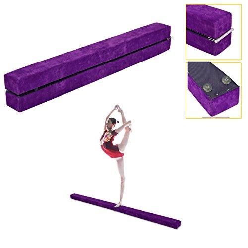 Wizhouse 8 Feet Gymnasts Balance Beam Purple - Gymnastics Equipment for Kids & Home Use - Wooden Base, Foam Padding, Non-Slip Surface