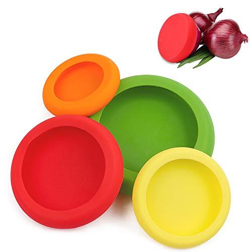 FEIGO Dehnbare Silikondeckel, Frischhaltefolie 4 verschiedenen Größen Frischhalte Deckel für Obst Gemüse Schüssel Dose Glaswaren